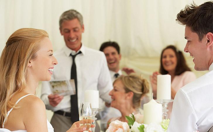 Sister toasts at wedding