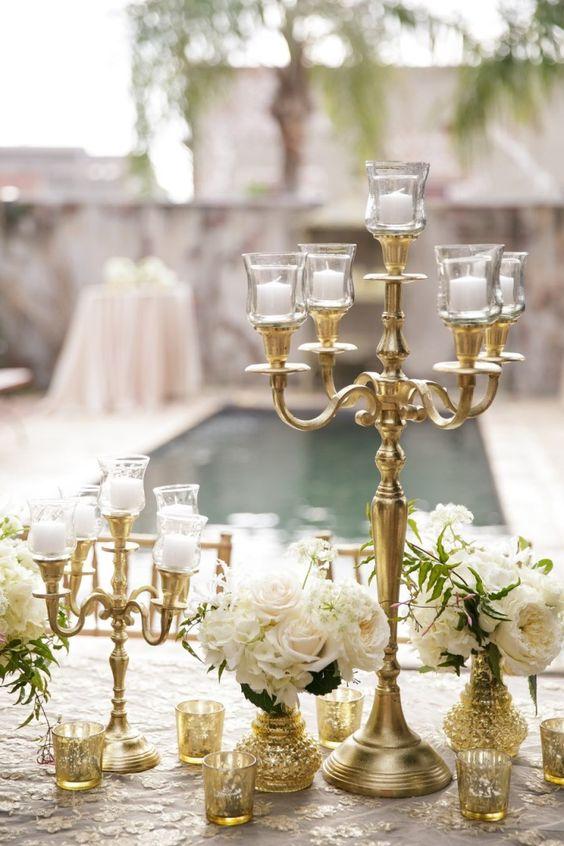 dekoracje ślubne świeczniki