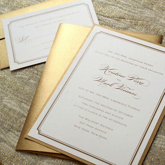 złote zaproszenia ślubne