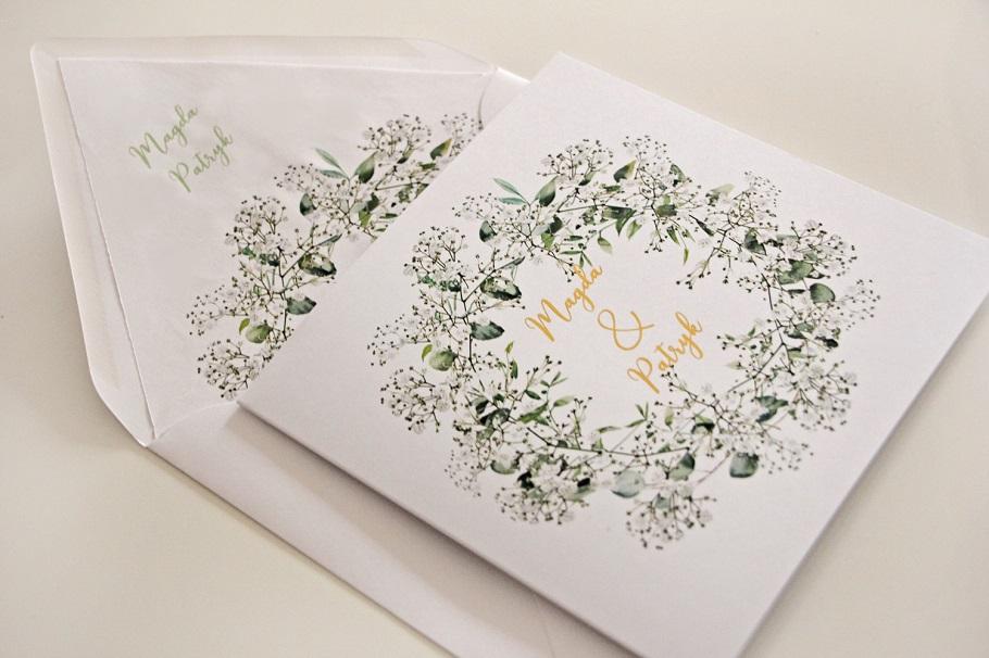 kwiatowe zaproszenia ślubne białe