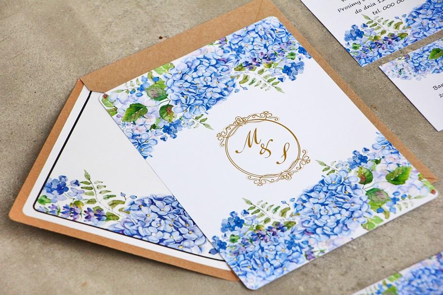 niebieskie kwiatowe zaproszenia ślubne