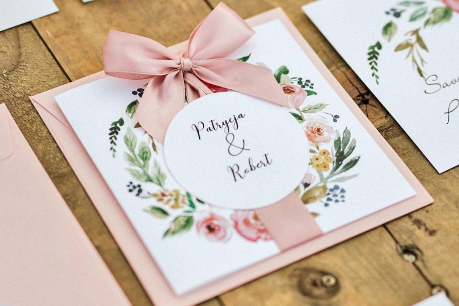 kwiatowe zaproszenia ślubne różowe
