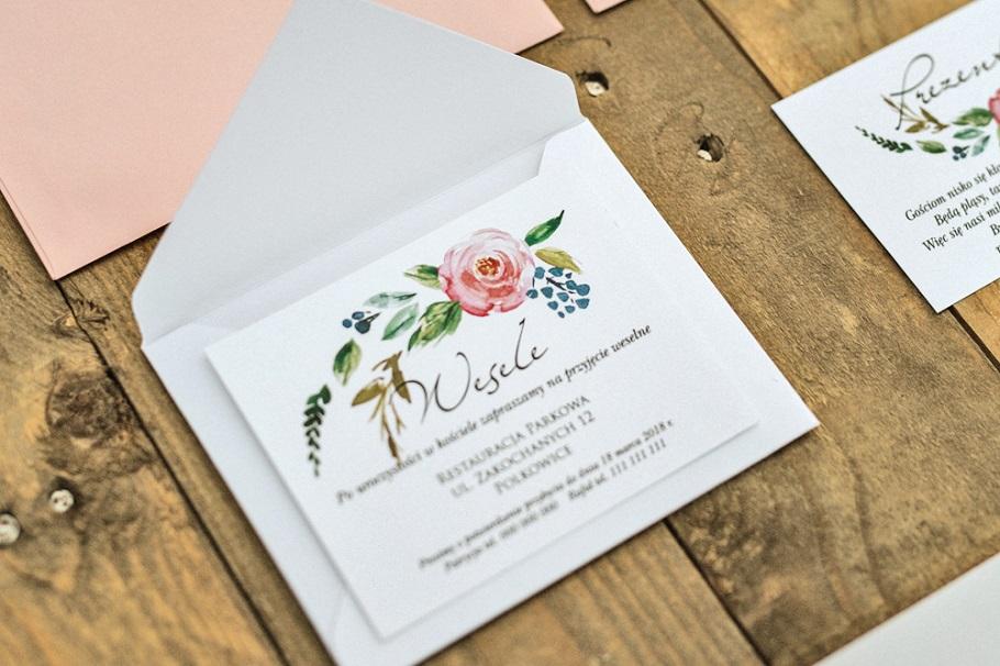 różowe kwiatowe zaproszenia ślubne