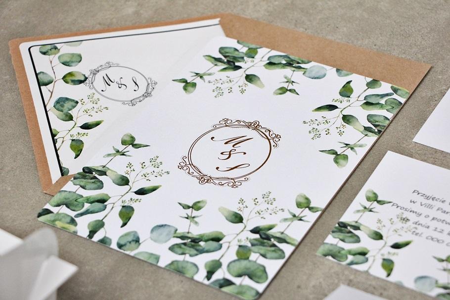 kwiatowe zaproszenia ślubne zielone