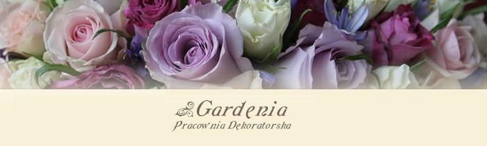 Gardenia wiązanki ślubne dekoracja sali samochodu kościoła Łódź