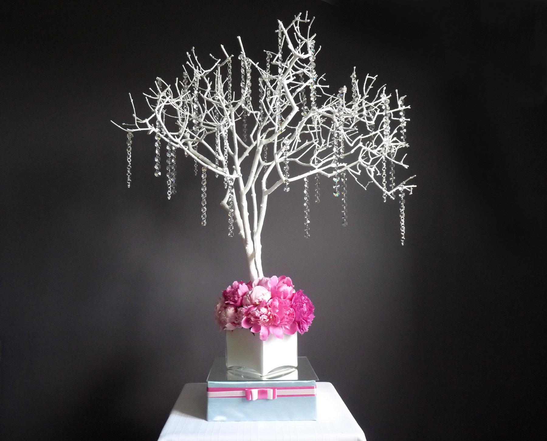 Dekoracja ślubna Wesele Dekoracyjne Białe Drzewko