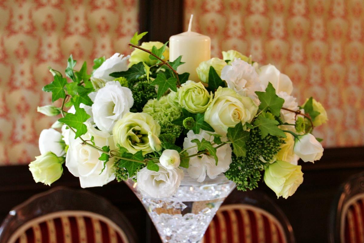 Dekoracje ślubne Dekoracja ślubna Stołu Biel Zieleń