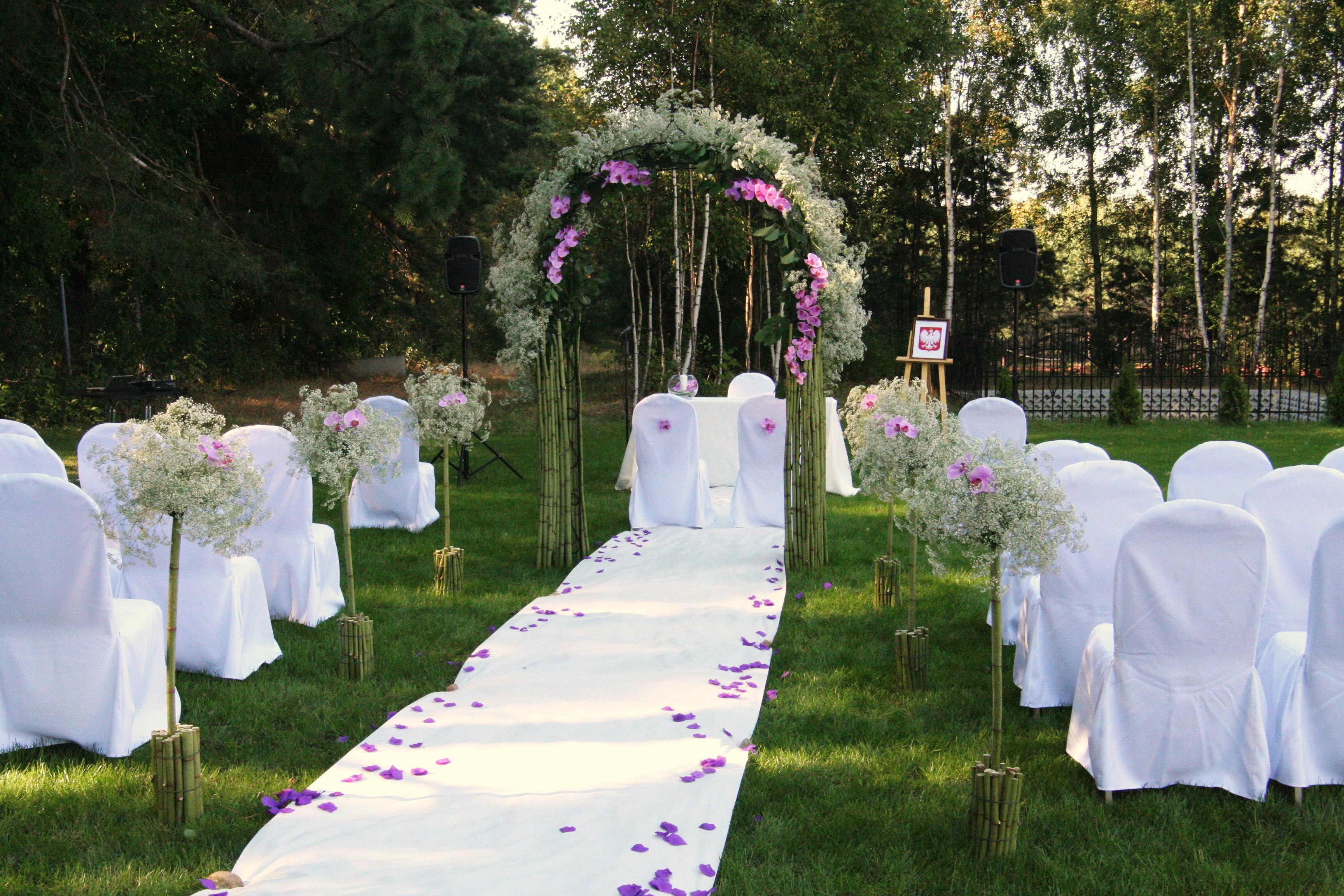 ślub W Plenerze Dekoracja ślubu ślub W Plenerze Gipsówka Biel