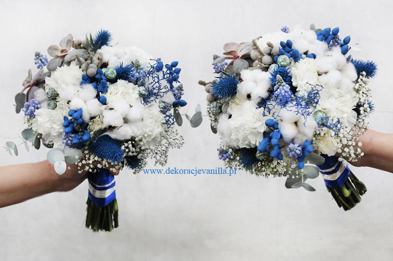 Niebieski Wiązanka ślubna Bukiet ślubny Białe Niebieskie