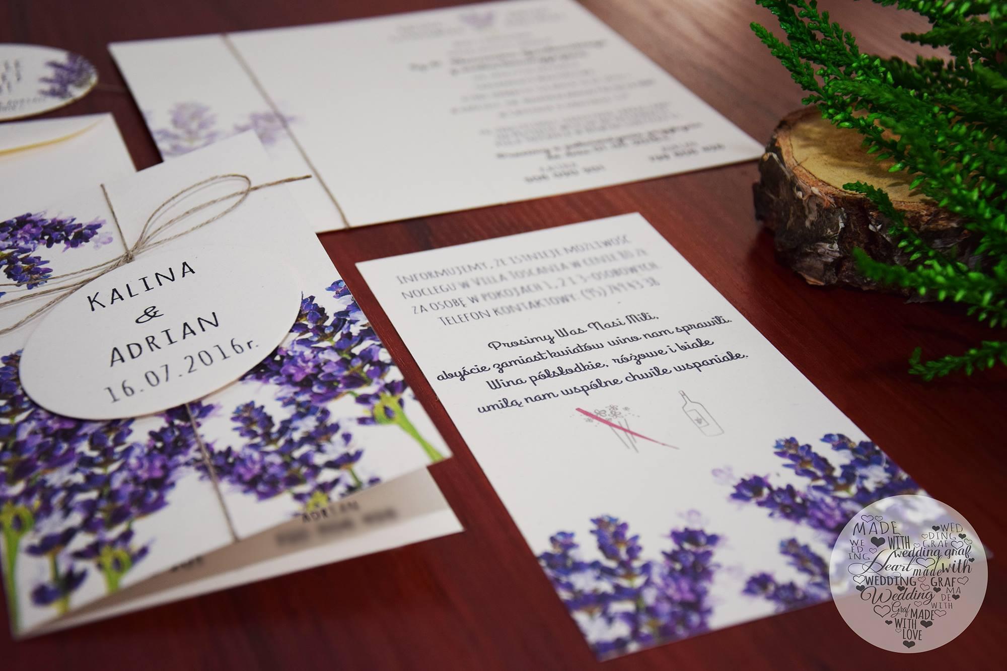 Zaproszenia ślubne I Oprawa Graficzna Zaproszenia ślubne Lawenda