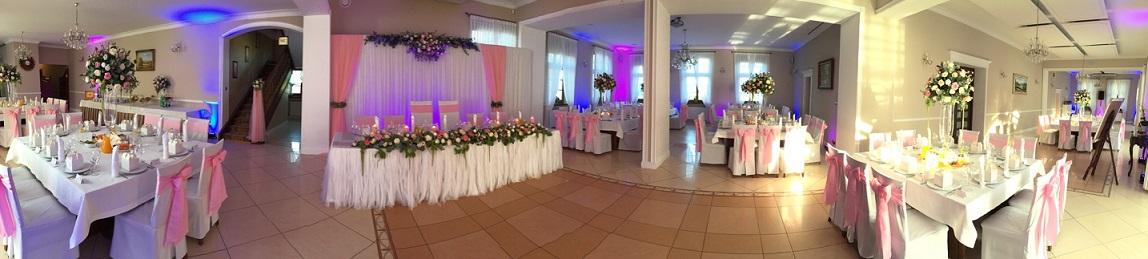 różowa dekoracja sali weselnej