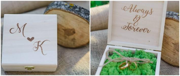 pudełko na obrączki z drewna