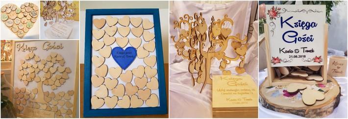 drewniana księga gości na wesele