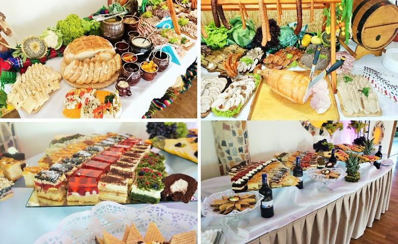 wiejski stół weselny